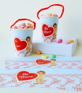 Freebie Image: Adorable Vintage Valentine Cup Wraps!!