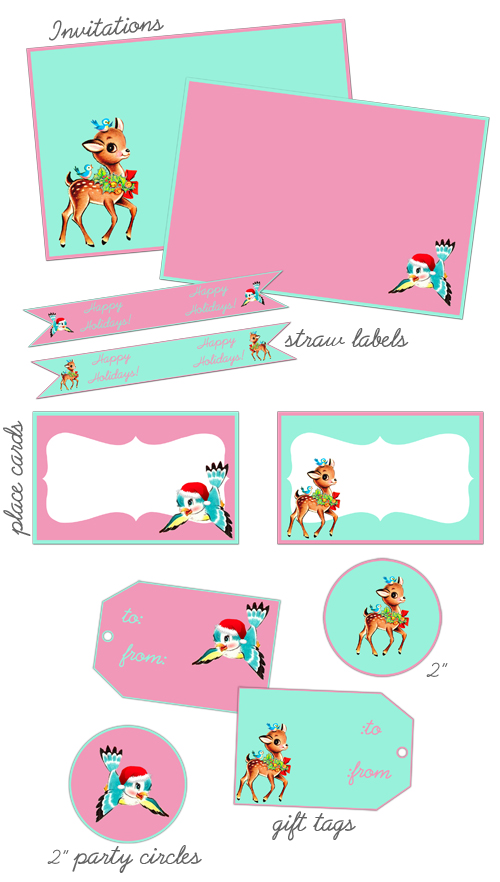 ♥ Freebie Image: Pink & Aqua Christmas Party Printables! ♥