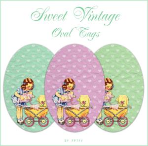 ♥ Freebie Image: Sweet Vintage Oval Tags ♥