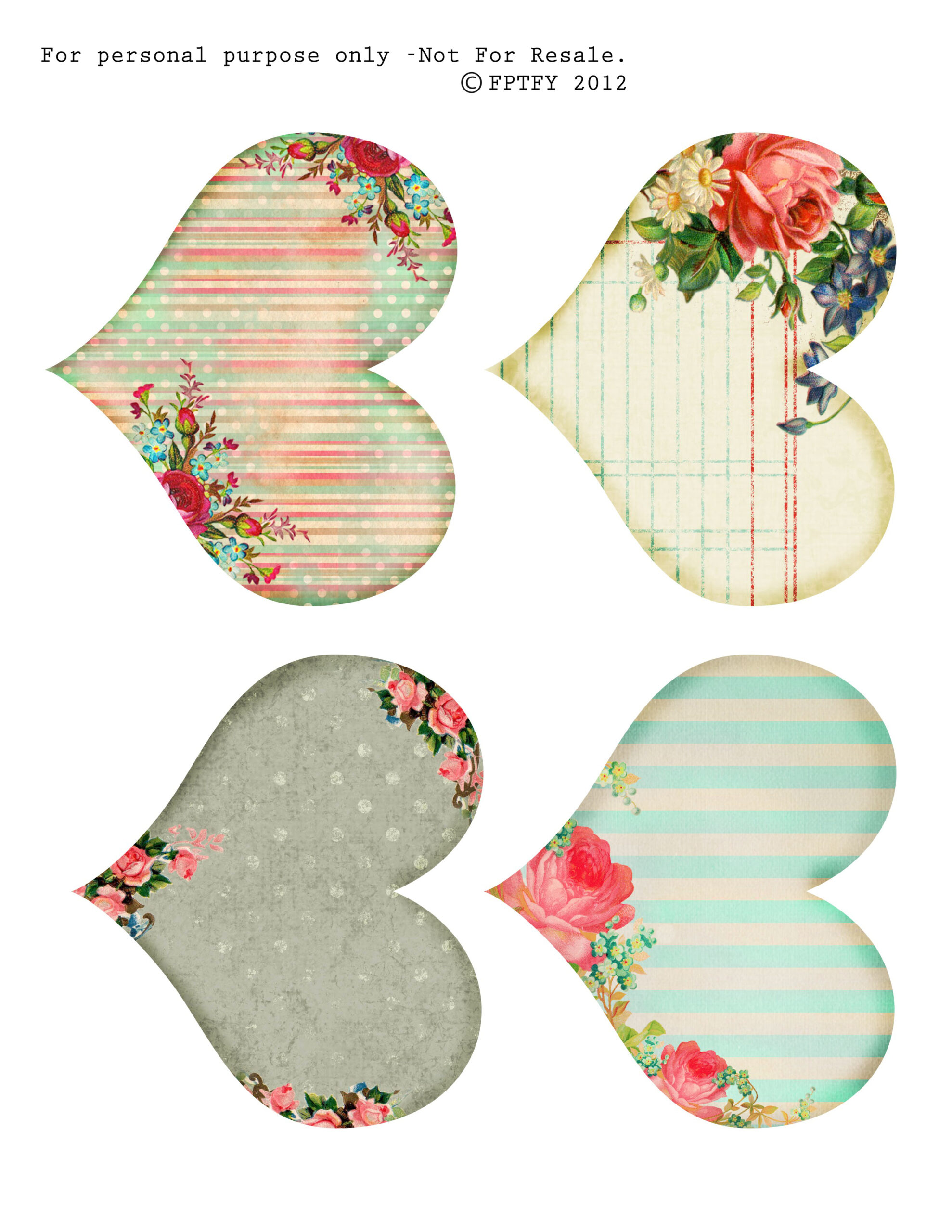 free vintage printable hearts free pretty things for you