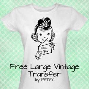 Free Large Vintage Clip Art Iron on Transfer