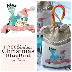 Free Vintage Christmas Bluebird Image and Pretty Bag Gift Bag Tutorial