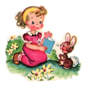 Free Vintage Clip art: Pretty Little Girl and Her Pet Bunny