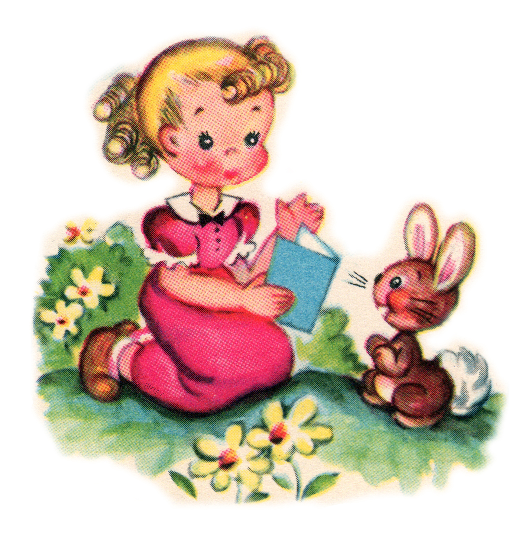 Free Vintage Clip Art: Pretty Little Girl And Her Pet