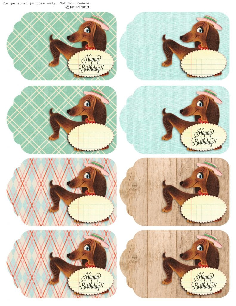 Free Vintage daschund Tags by FPTFY