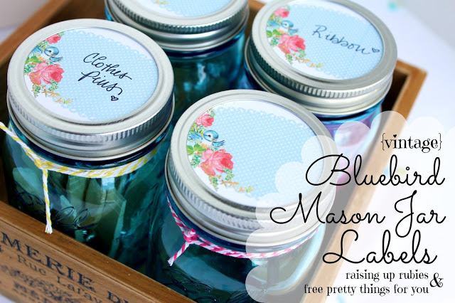 bluebird mason jar labels ♥ raisinguprubies & fptfy!
