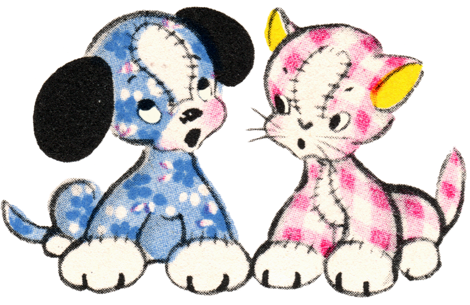 free vintage clip art adorable puppy and kitty duo free pretty