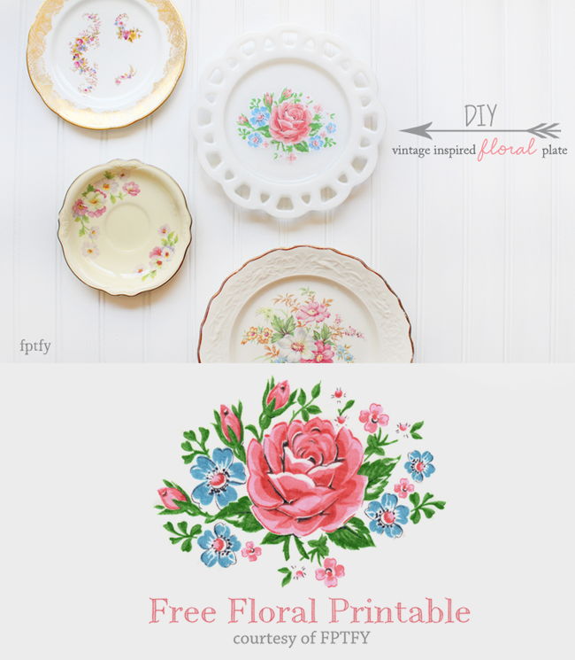 vintage inspired floral plate by FPTFY