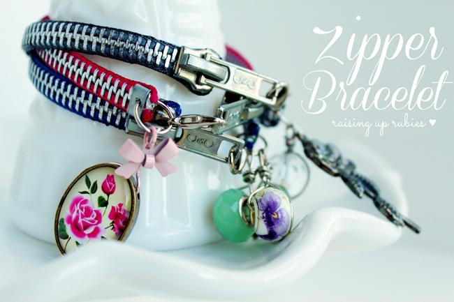 DIY zipper bracelets ♥ raisinguprubies.blogspot.com