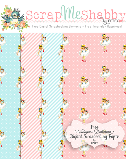Free  vintage ballerina digital scrapbooking paper by FPTFY web ex