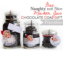 Free Naughty Not Nice Mason Jar Chocolate Gift Printables