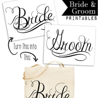 Free Calligraphy Bride and Groom Wedding Printables