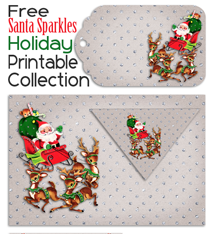 Santa Sparkles Holiday Printable Collection and Matching Facebook Covers