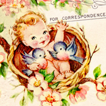 Free Vintage Altered Art Baby Post Card