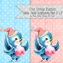 Free 12 x 12 Vintage Bluebird Holiday Digital Scrapbooking Paper