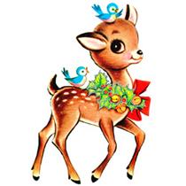 free vintage christmas deer clip art