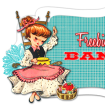 free vintage clip art sewing girl banner example