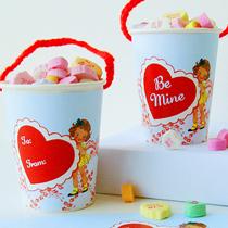 free vintage valentine cup wraps