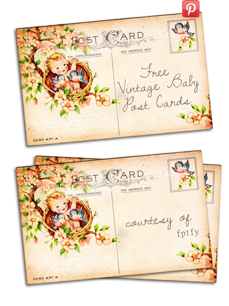 Free vintage altered art Baby postcards By FPTFY