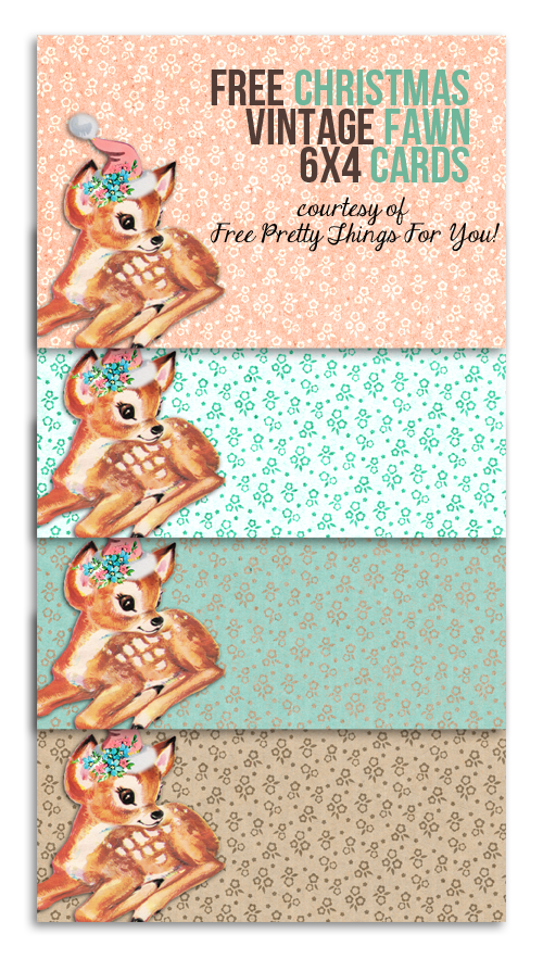printable labels: free Christmas vintage fawn 6 x 4 cards