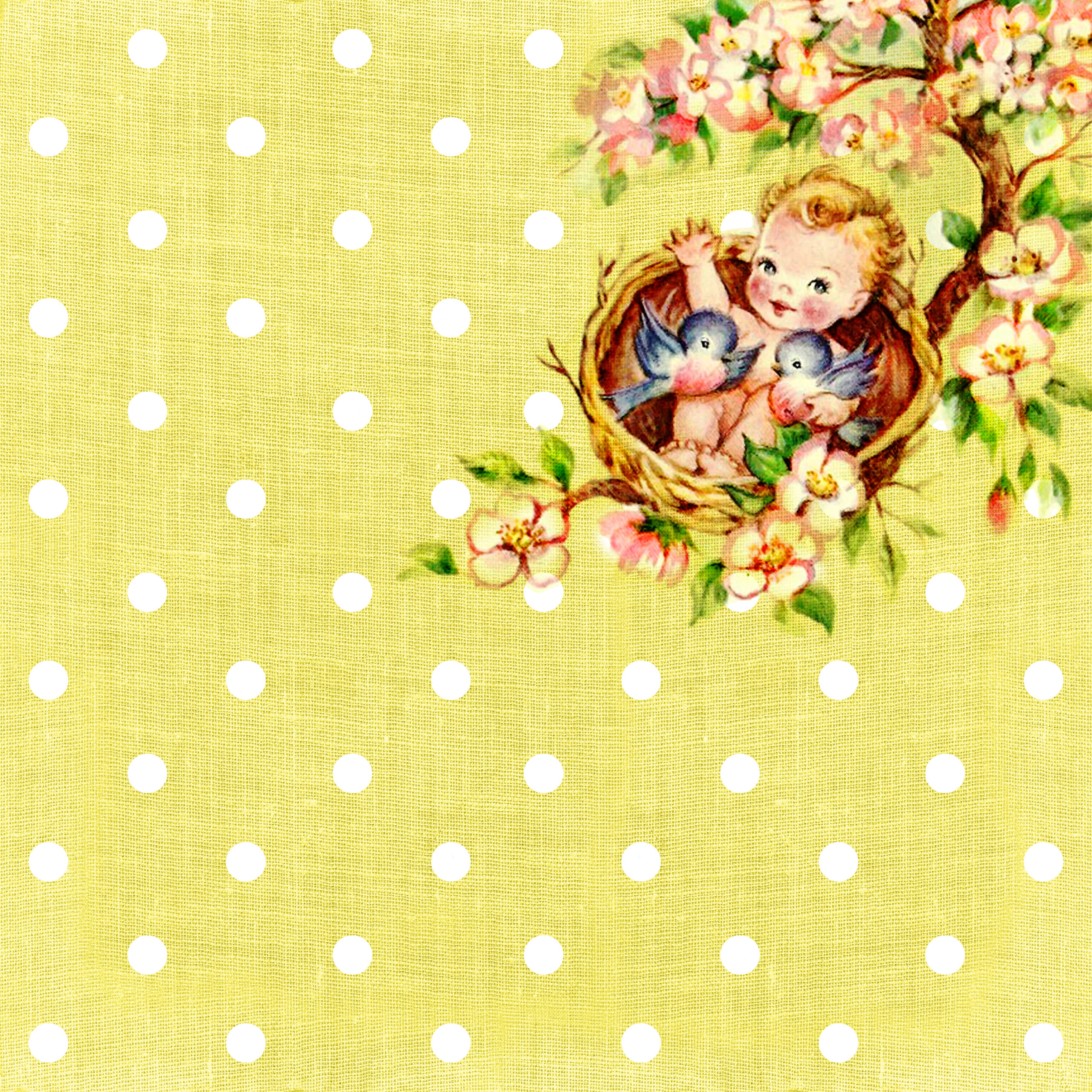 Free Digital Scrapbooking Paper Vintage Baby On The Tree Top Part 1