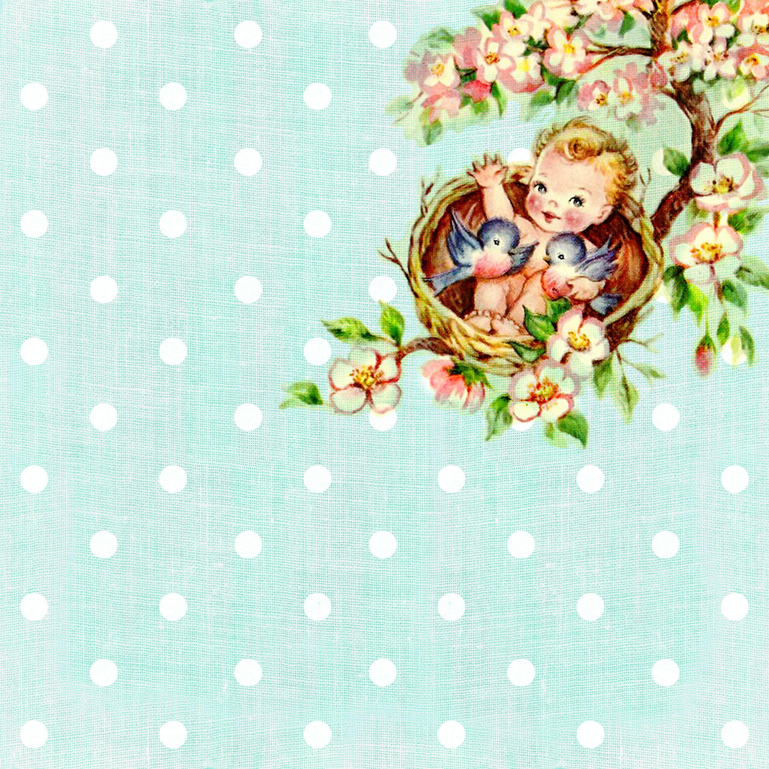 Free Digital Scrapbooking Paper Vintage Baby On The Tree Top Part 3
