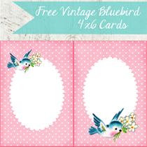 Free 4×6 Vintage Bluebird Cards!