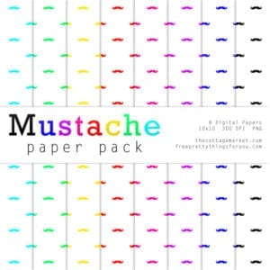 Free Awesome Mustache Digital Paper part 2