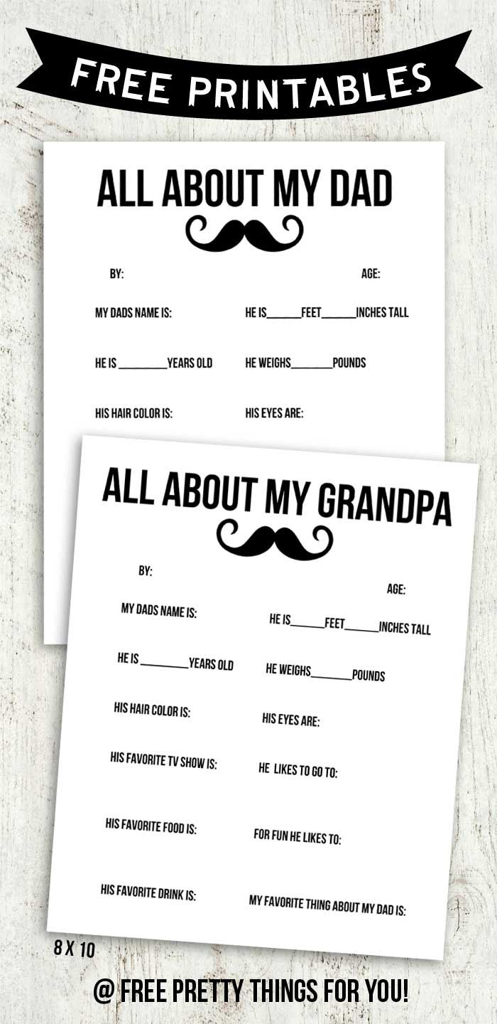 All About My Dad And Grandpa Free Printable Free Pretty