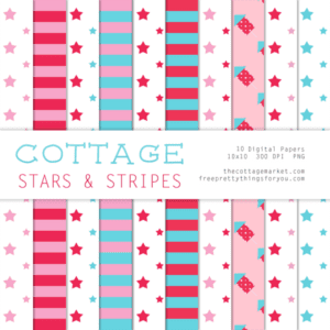 Free Digital Scrapbooking Cottage Stars and Stripes Paper Pack Part 2
