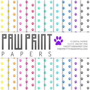 Free Paw Print Digital Paper Pack Part 2