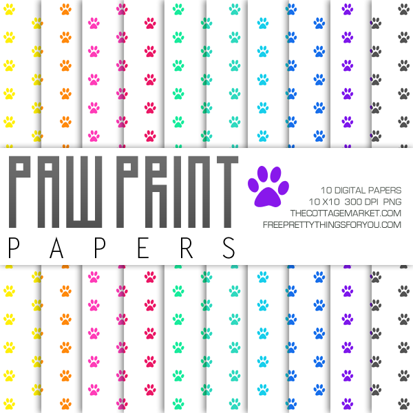 graphic relating to Free Printable Paw Prints named Absolutely free Paw Print Electronic Paper Pack Portion 2 - Cost-free Wonderful
