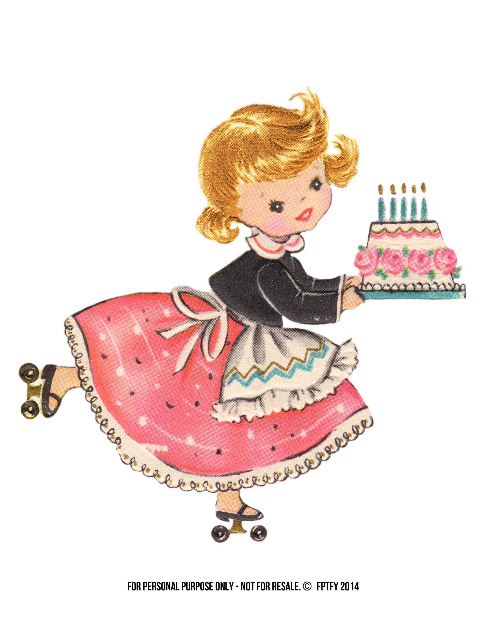 Vintage Stock: Free Large Birthday Girl Clip Art - Free ...