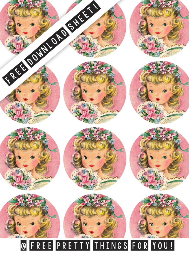 Sticker Printing: Pretty Vintage Girl 2 inch Printable Circles