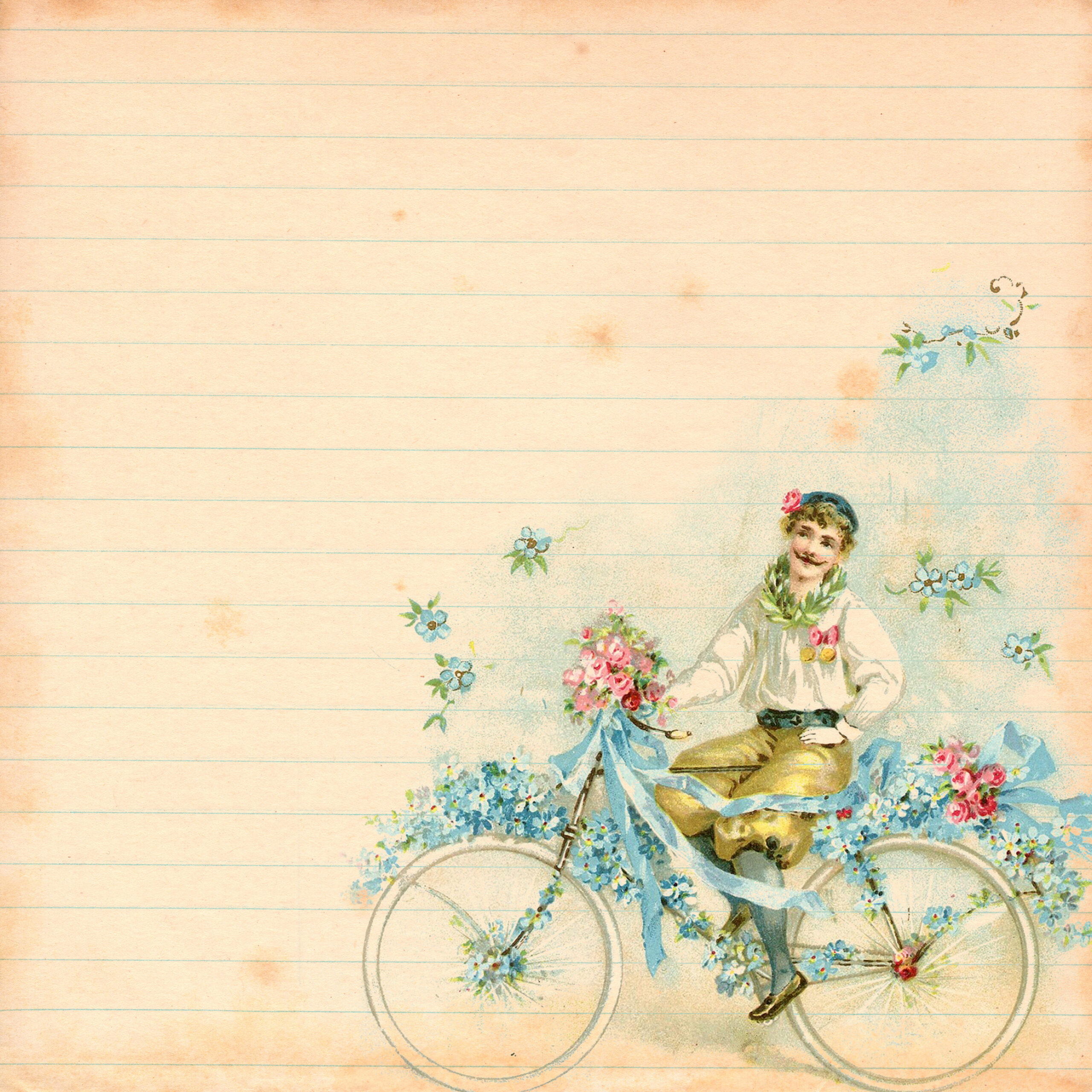 scrapbook: romantic vintage bicycle digital paper - free pretty