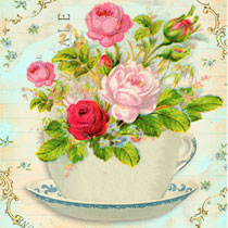 Crafts: Free Romatic 4×6 Flowers and Teacup Cards