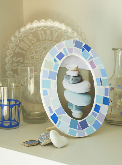 Seaside sea glass mosaic frame