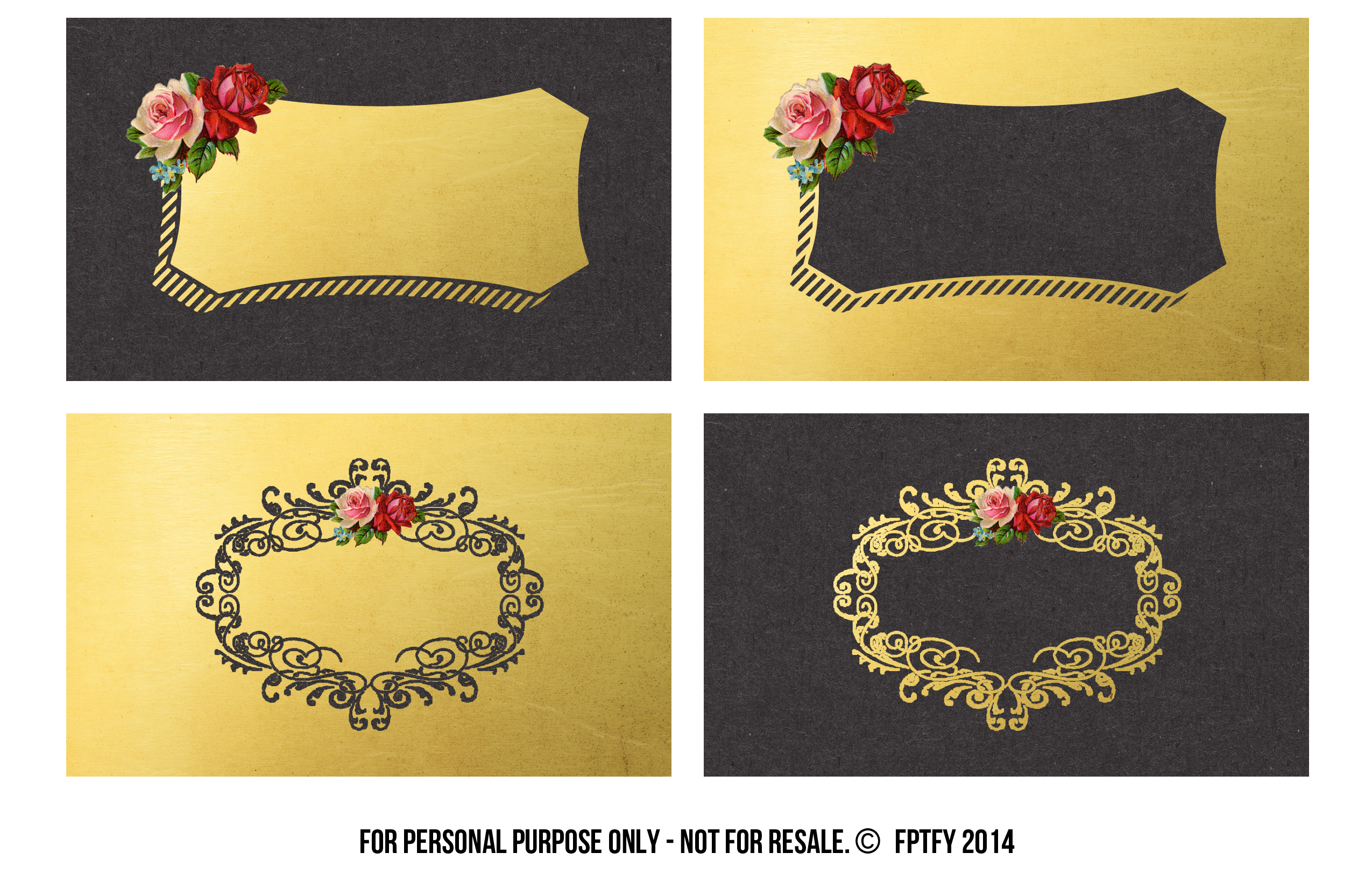 Business Cards: Goldleaf and Vintage Roses - Free Pretty Things For You