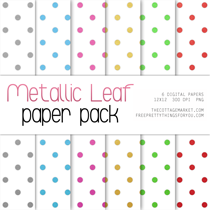 Scrapbook Paper: Metallic Leaf Paper Pack 2