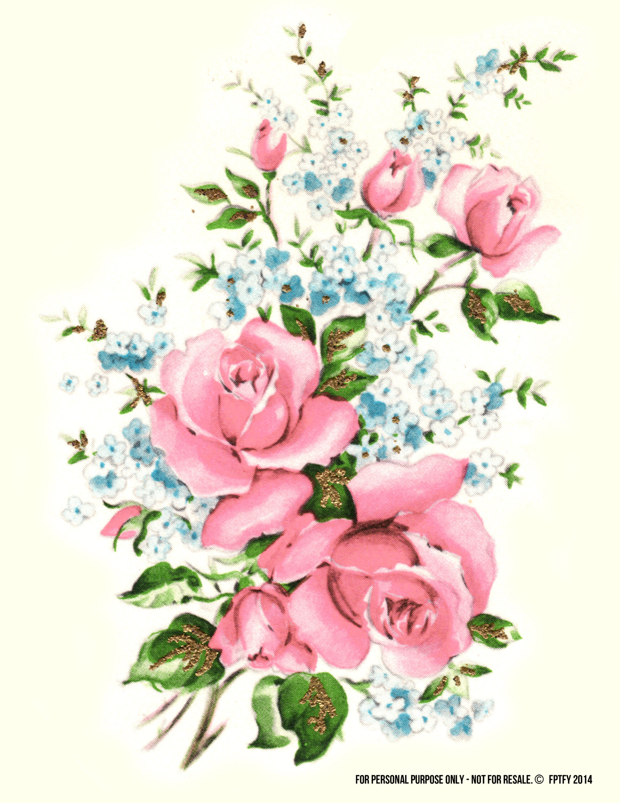Pictures: Red and Pink Rose Bouquet Vintage Clip Art