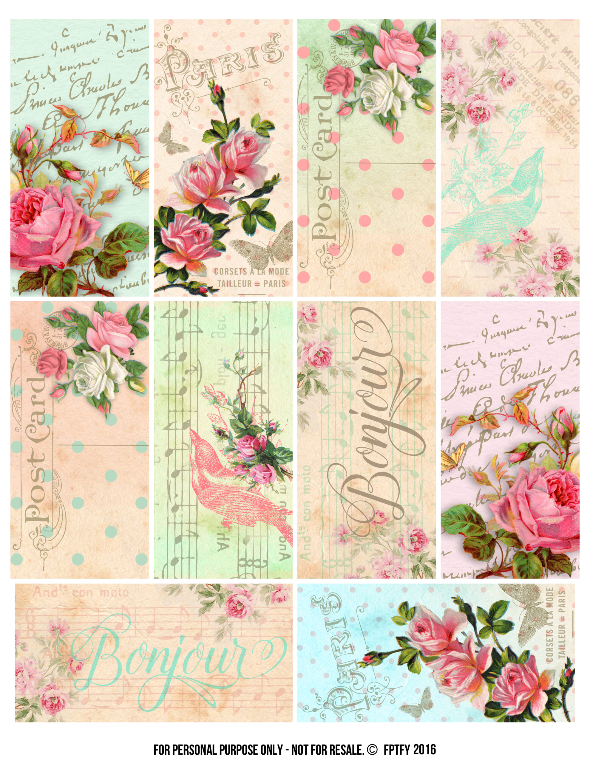 Parisian Romantic Scrapbook Printables Free Pretty Things For You