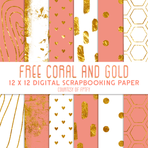 Free Digital Scrapbook Paper- Coral Gold and White