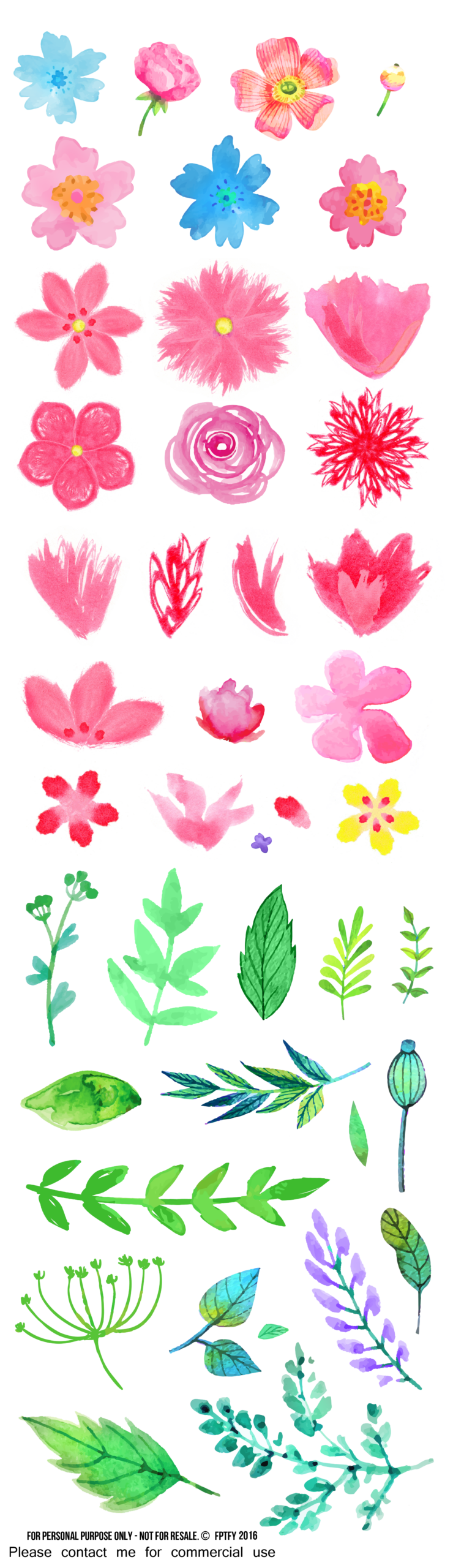 Free watercolor flower clipart free pretty things for you showmyads mightylinksfo Choice Image
