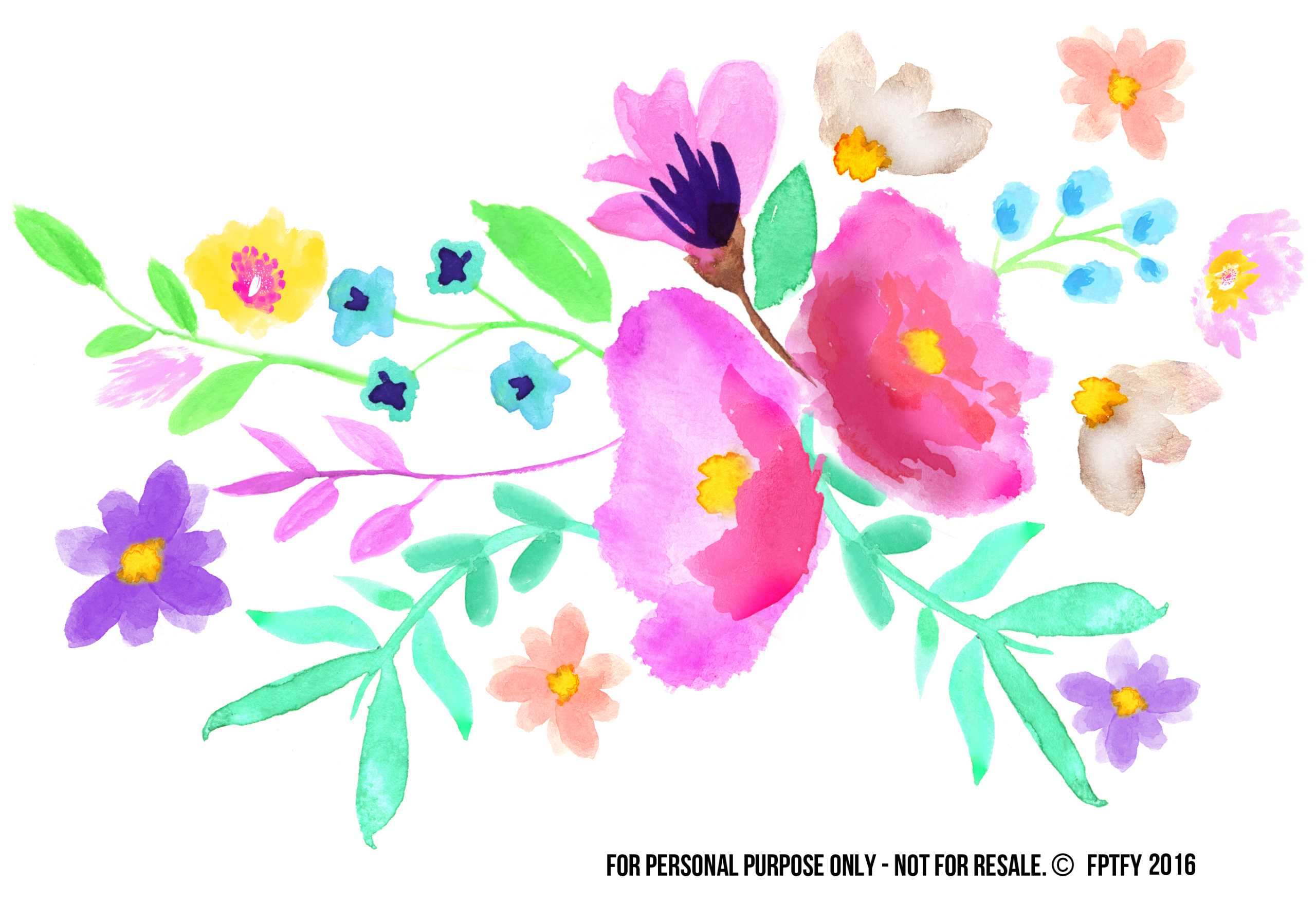 Spring Watercolor Floral Spray Clip Art Images Free Pretty Things