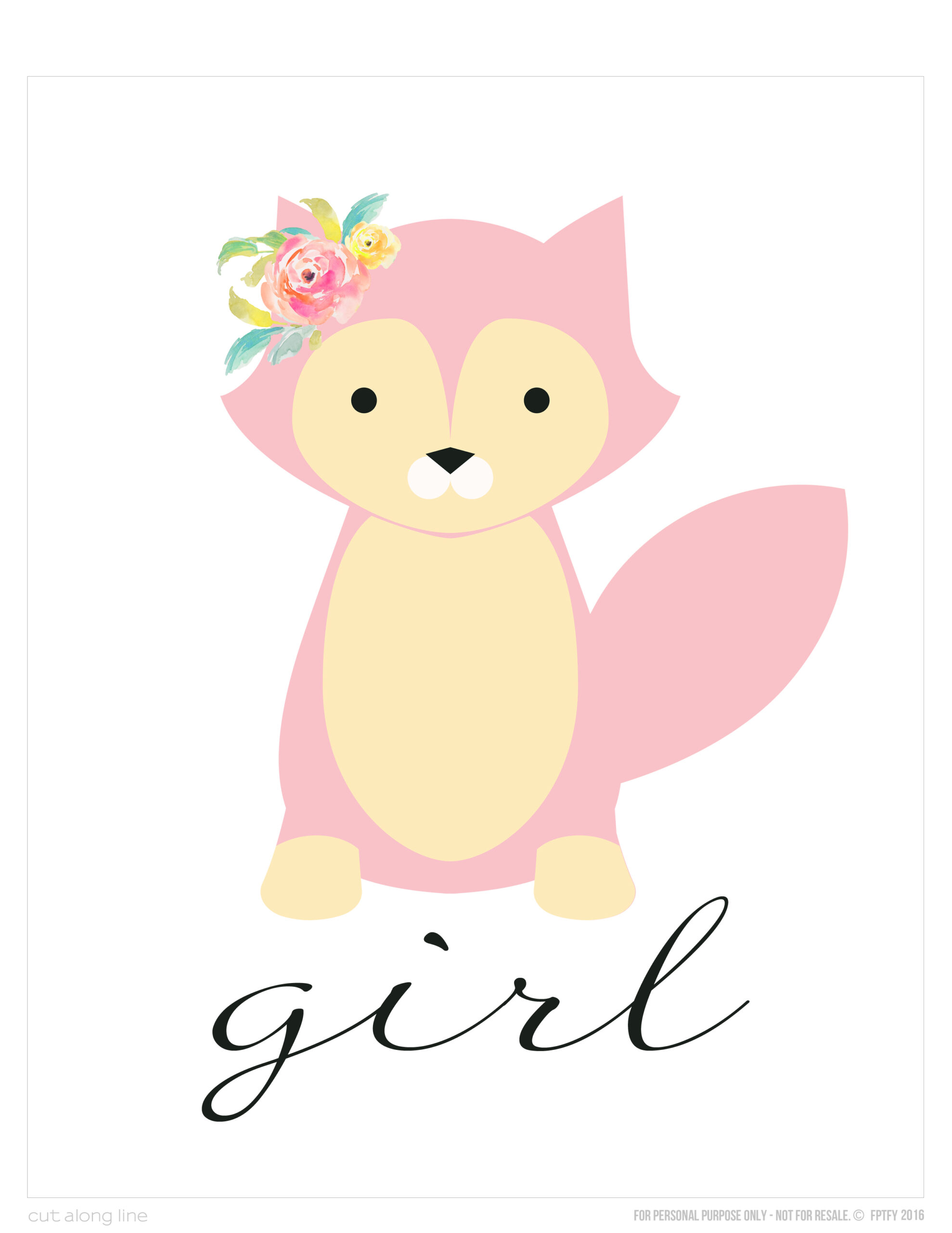 Wall Art- Free Foxy Girl 8x10 Print - Free Pretty Things For You