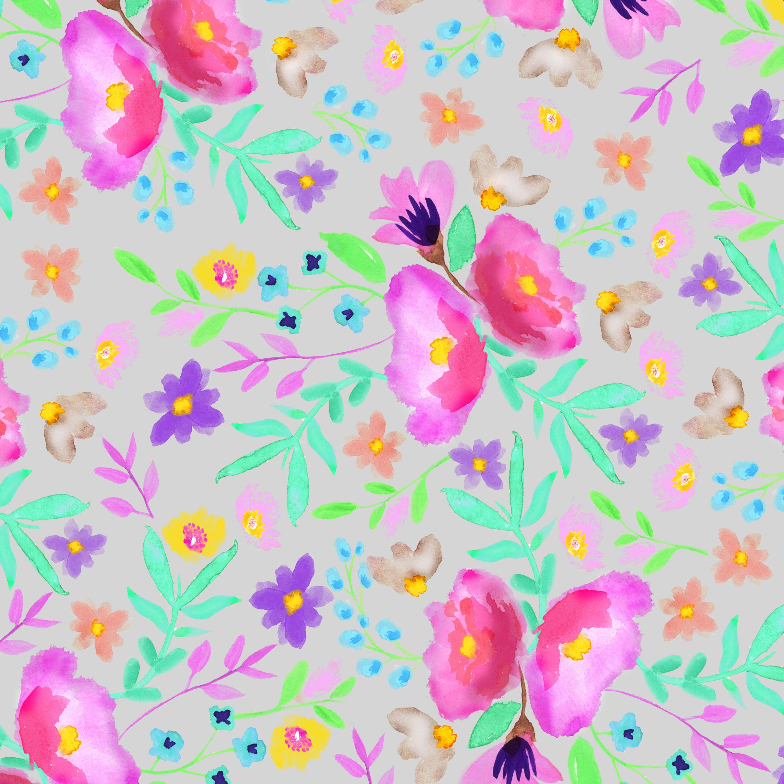 Scrapbook Paper Pretty Florals 12x12 Multicolors Free Pretty