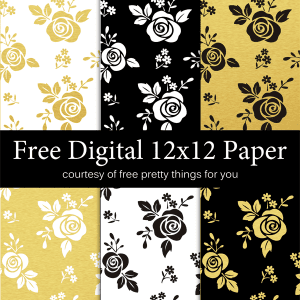 Scrapbook Paper-  Black White and Gold leaf