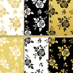 Scrapbook-Paper-black-white-goldleaf-digital-rose-paper-FPTFY-b