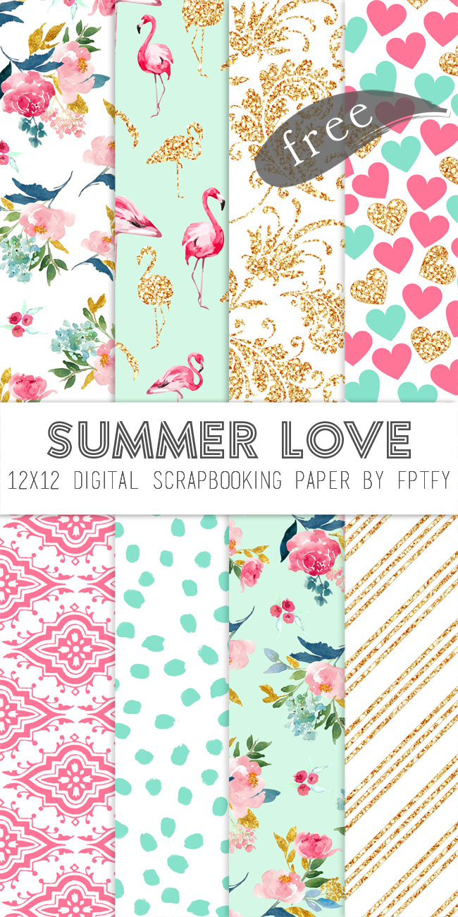 Free Digital Scrapbook Paper Summer Love Free Pretty Things For You