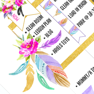Free Planner Addict Printable Stickers- Roses and Feathers